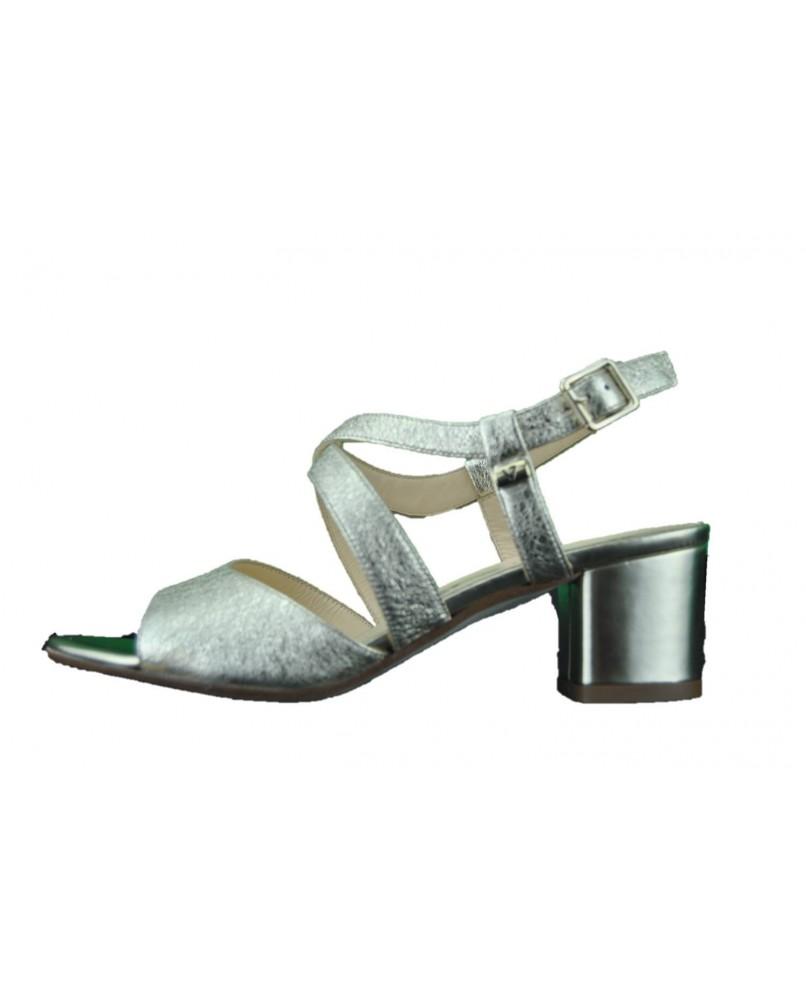Sandalo Tacco Pelle Basso Valleverde Gioiello Scarpe Donna Platino R354qAjL
