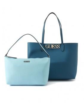 GUESS UPTOWN CHIC VG730123 borsa shopping +pochette azzurra