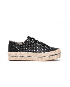 CAFENOIR GDG932 scarpe espadrilles donna nero corda strass