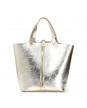 CAFèNOIR GBDB830 borsa shopping double-face + pochette donna oro