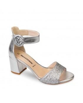 VALLEVERDE 28230 Sandalo scarpe tacco Mary Jane pelle donna argento