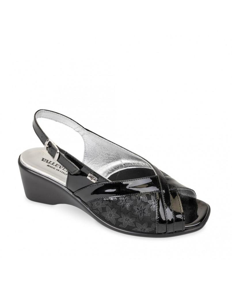 VALLEVERDE 33201 Sandali scarpe zeppa donna pelle nero lucido