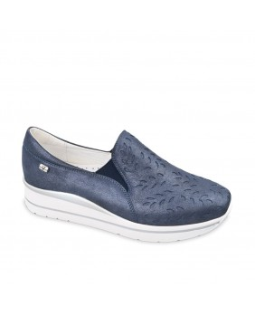 VALLEVERDE 36390 mocassino slip on laserato sneakers zeppa donna blu