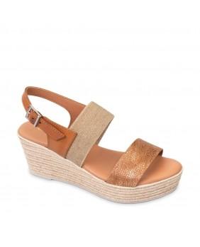 VALLEVERDE 34275 Sandali cuoio scarpe zeppa donna pelle