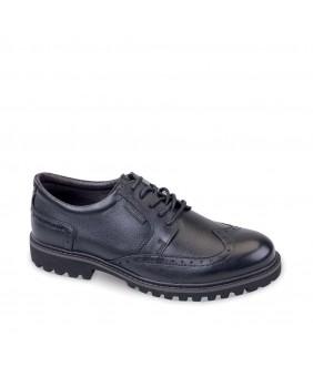 VALLEVERDE scarpe francesine uomo in pelle nero casual eleganti