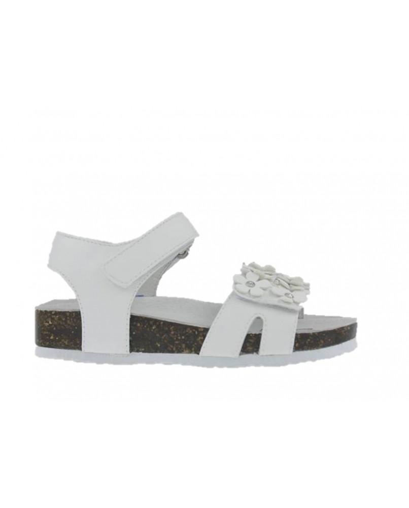 new style fb392 365b2 PRIMIGI 3463500 sandali bio pelle bimba bianco strappo primi passi con LUCI