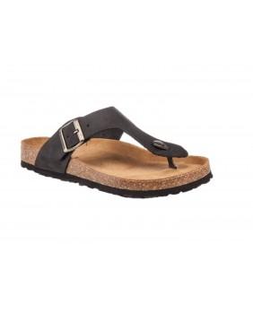 LUMBERJACK ISLA infradito sandali bio scarpe uomo pelle nero