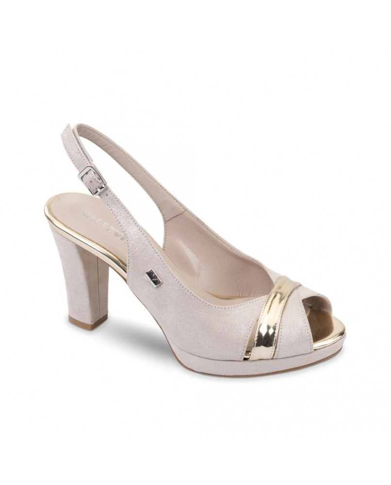 vasta selezione di varietà larghe goditi il miglior prezzo VALLEVERDE Sandalo scarpe tacco pelle donna platino
