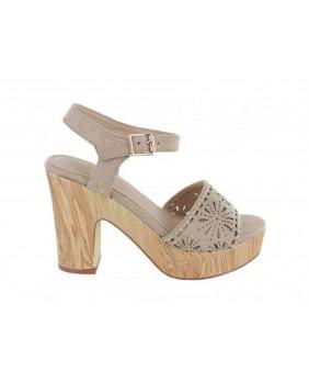 MENBUR UMITO 020491 sandalo beige donna tacco con plateau effetto legno