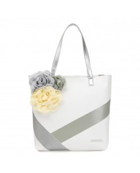 CAFèNOIR I BHX120 borsa donna shopping bag in pelle fiorata bianco