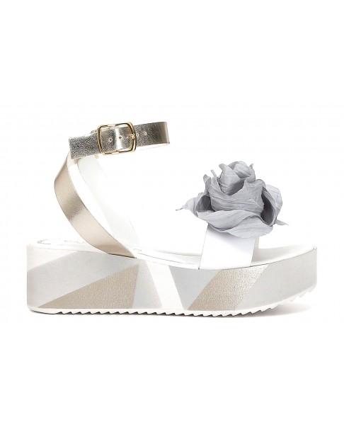 CAFèNOIR I HA127 Sandali scarpe zeppa donna grigio fiorato pelle